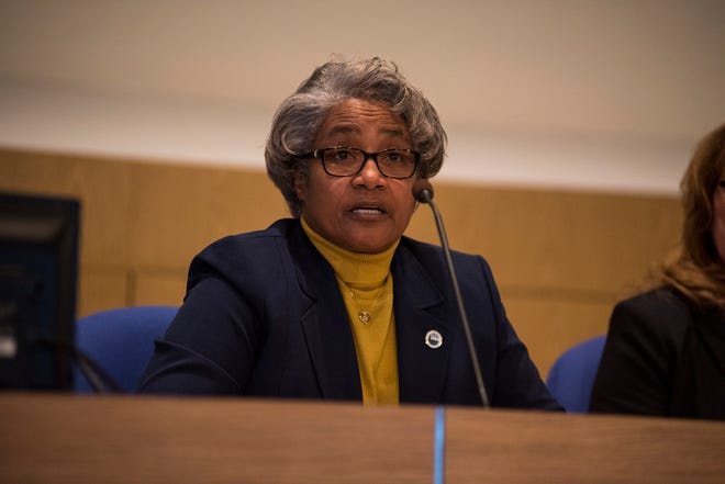 Port Huron City Councilwoman Anita Ashford speaks at a candidate forum on Tuesday, Oct. 23, 2018, at the Municipal Office Center in Port Huron. As of June 2020, Ashford was amid her third term on council and secretary of the Michigan Black Caucus of Local Elected Officials.
