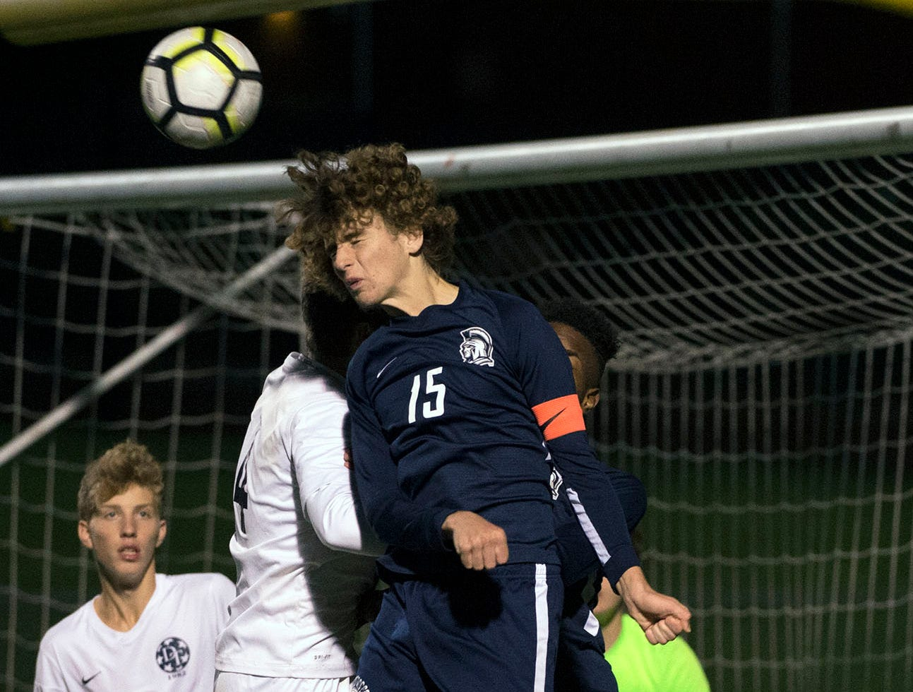 Aaron Maynard (15) heads the ball for Chambersburg. Chambersburg lost a first round D3 soccer match to Dallastown 2-1 on Tuesday, Oct. 23, 2018.