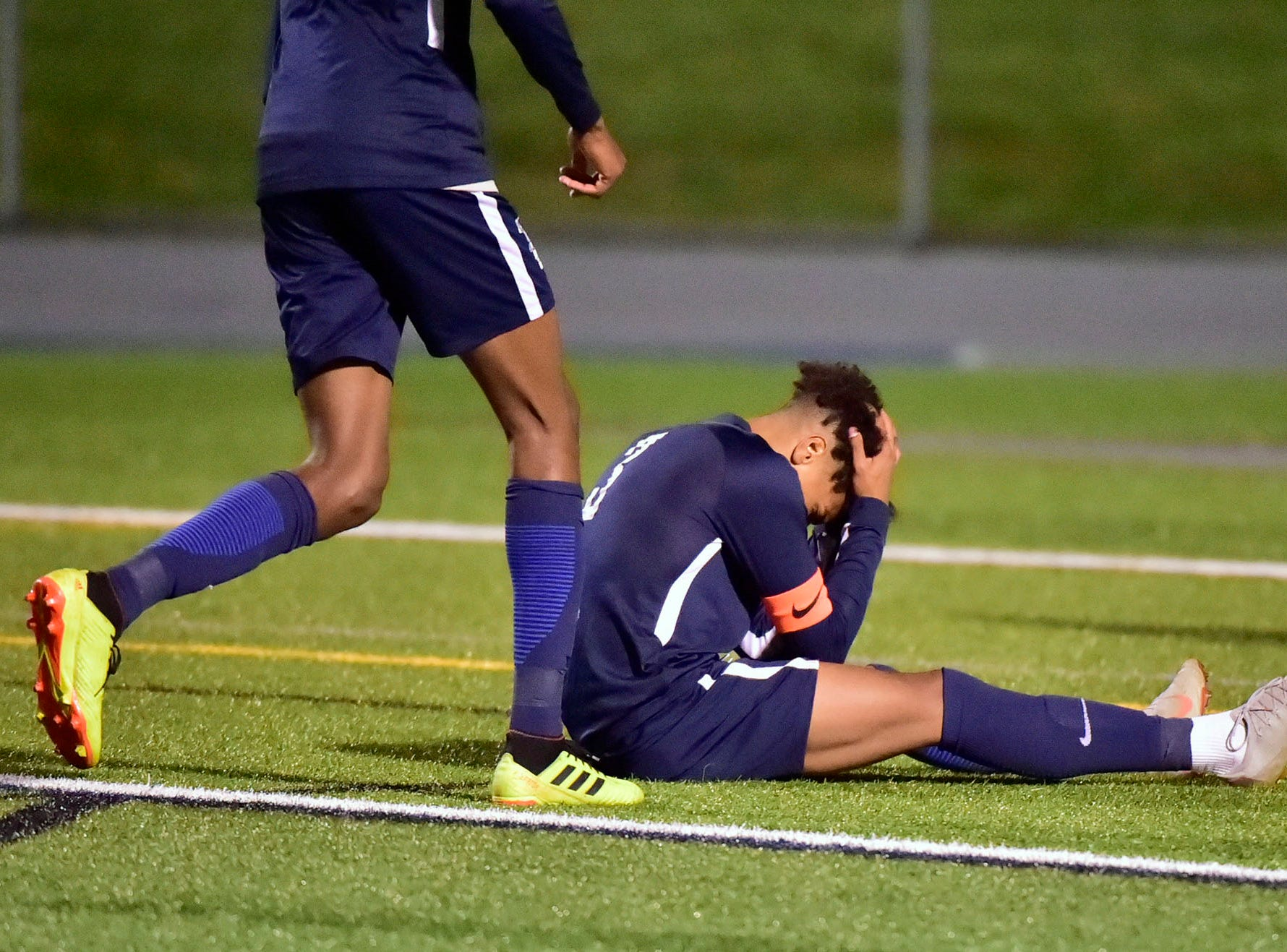 Chambersburg's Ebe Hewitt reacts to a missed opportunity at the gaol. Chambersburg lost a first round D3 soccer match to Dallastown 2-1 on Tuesday, Oct. 23, 2018.