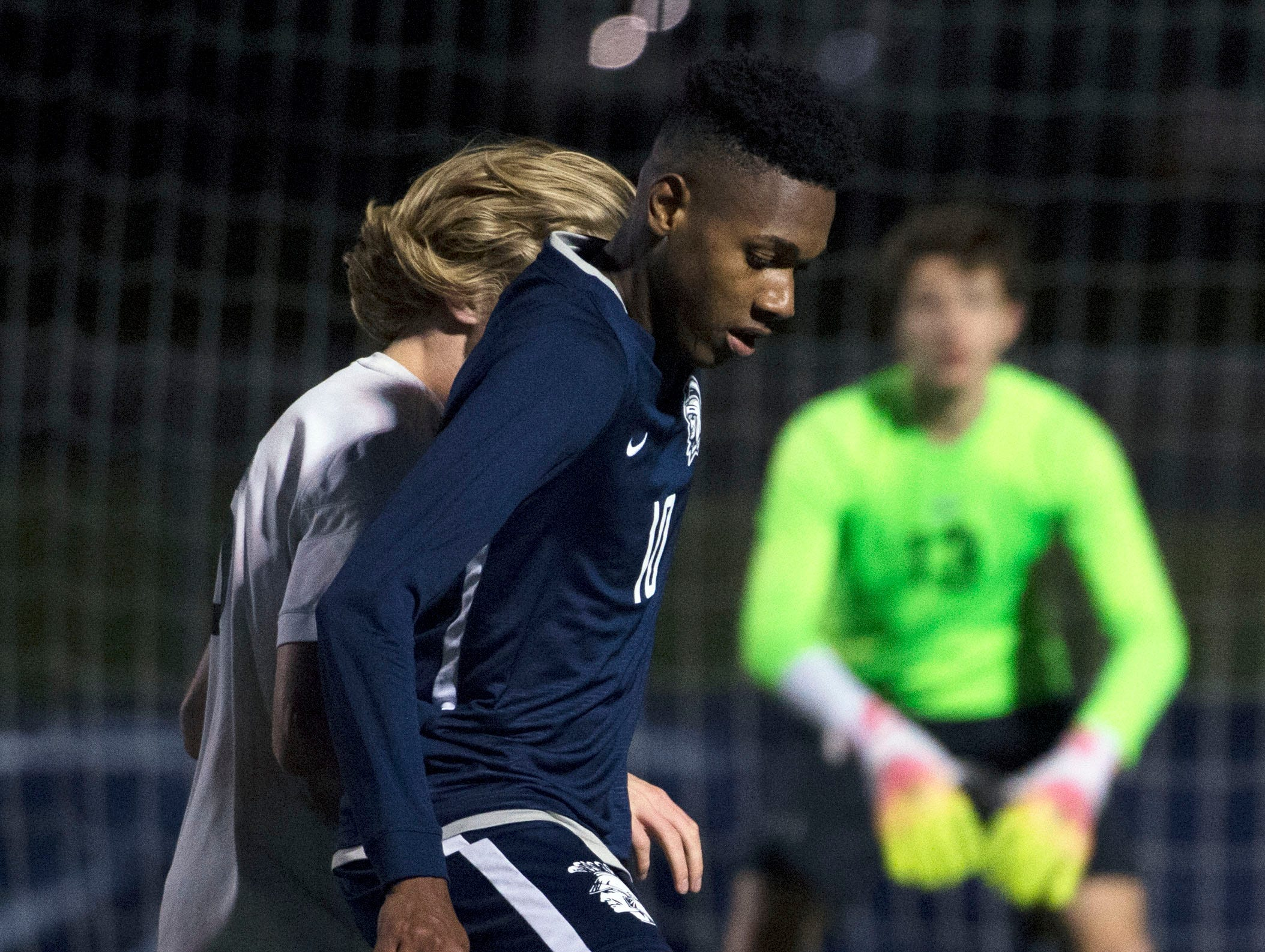 Chambersburg's Omario Duncan dribles the ball. Chambersburg lost a first round D3 soccer match to Dallastown 2-1 on Tuesday, Oct. 23, 2018.