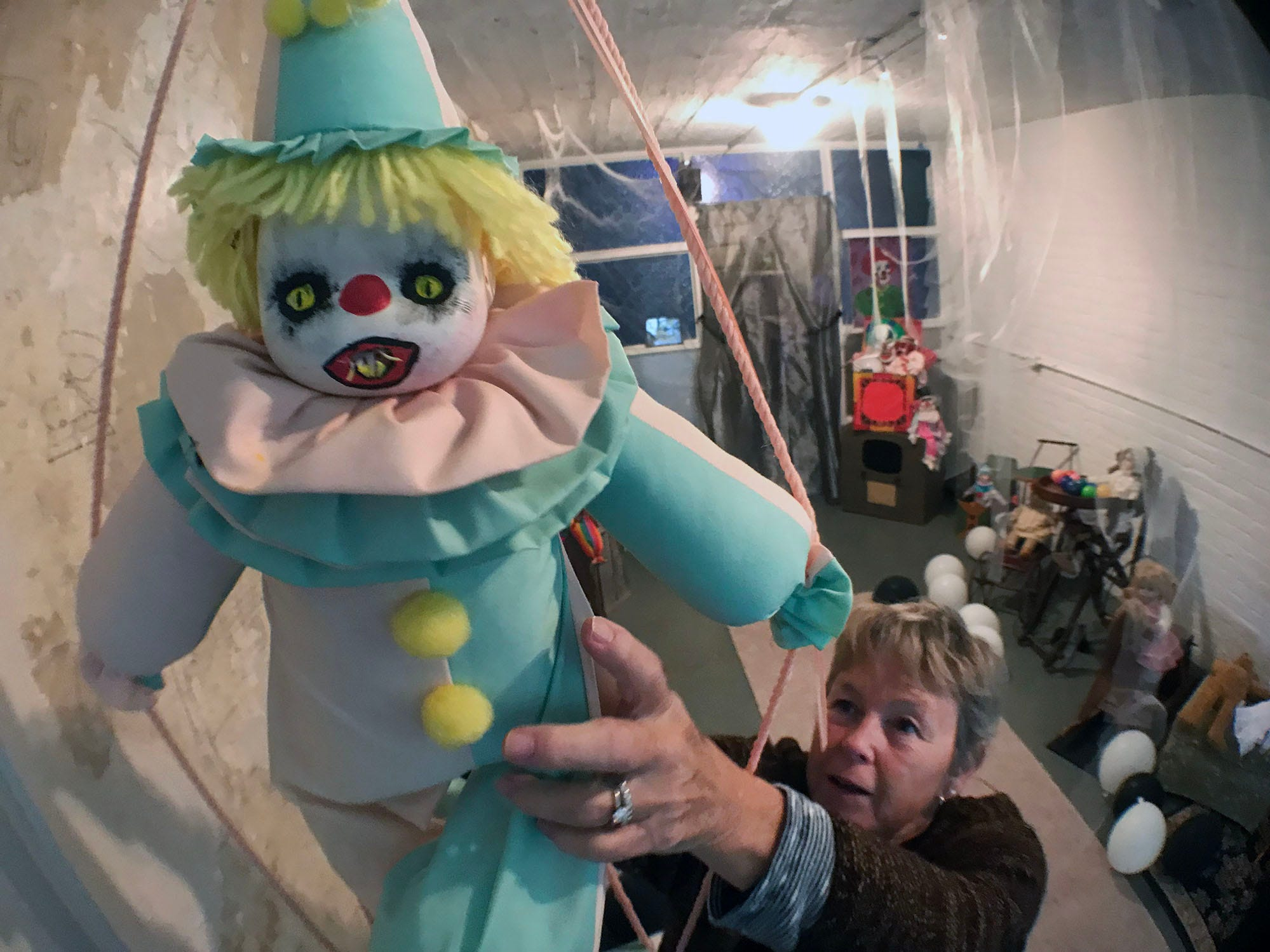 Cathy Cellucci sets up a section which features cannibal clowns Tuesday, October 24, 2018 at the Old Jail. Franklin County Historical Society is bringing back its once popular fundraiser, halloween at the Old Jail. The haunted walk-thru of the Old Jail, 175 East King Street, is open 7-10p.m. Friday and Saturday, Oct.26-27 and November 2-3. Admission is $10 for adults and $6 for children 12 and under. Children must be accompanied by an adult.
