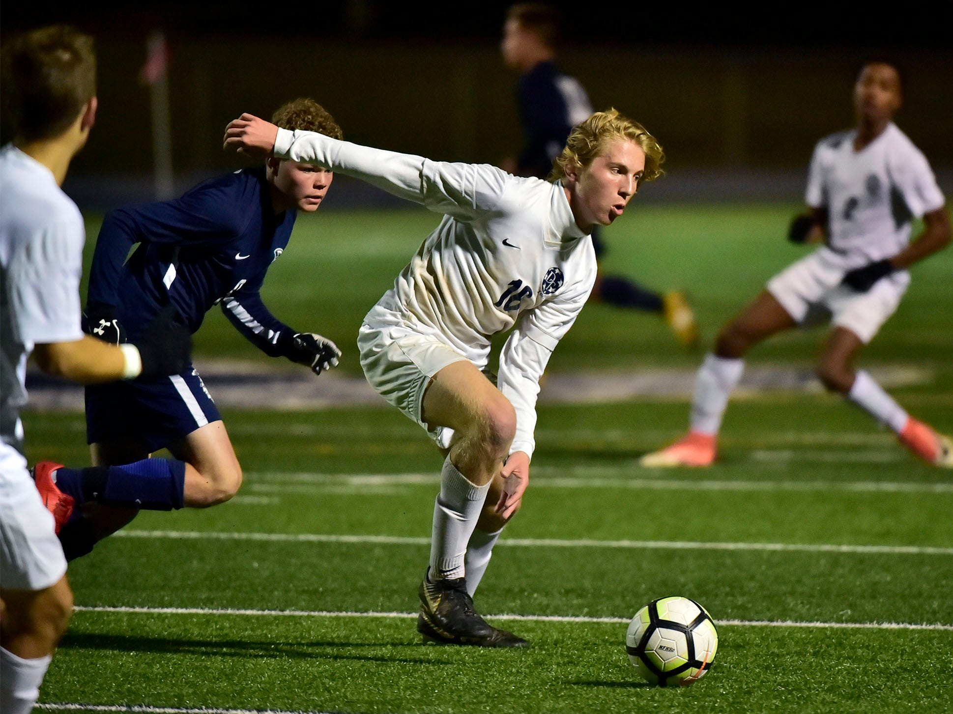 Dallastown's Cole Larson moves the ball for the Wildcats. Chambersburg lost a first round D3 soccer match to Dallastown 2-1 on Tuesday, Oct. 23, 2018.