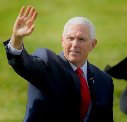 Vice President Mike Pence waves to supporters after landing during a stop at Lancaster Airport in Lititz Wednesday, Oct. 24, 2018. Pence was joined by Republican incumbent candidates Scott Perry and Lloyd Smucker during the event. Bill Kalina photo