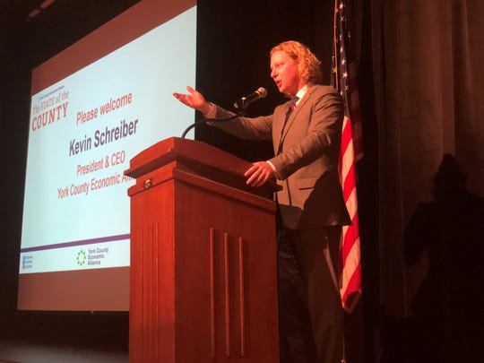 Kevin Schreiber, president andCEO of the York County Economic Alliance, welcomed about 100 people to the State of the County presenation Tuesday, Oct. 23, at Dover Area High School.