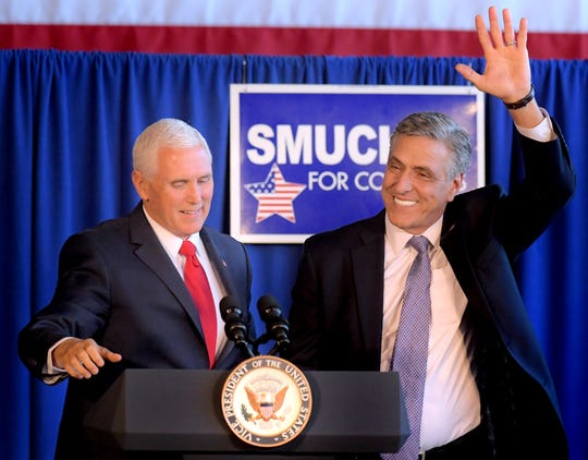 Vice President Mike Pence rallies with senate candidate Lou Barletta during a stop at Lancaster Airport in Lititz Wednesday, Oct. 24, 2018. Pence was joined by Republican incumbent candidates Scott Perry and Lloyd Smucker during the event. Bill Kalina photo