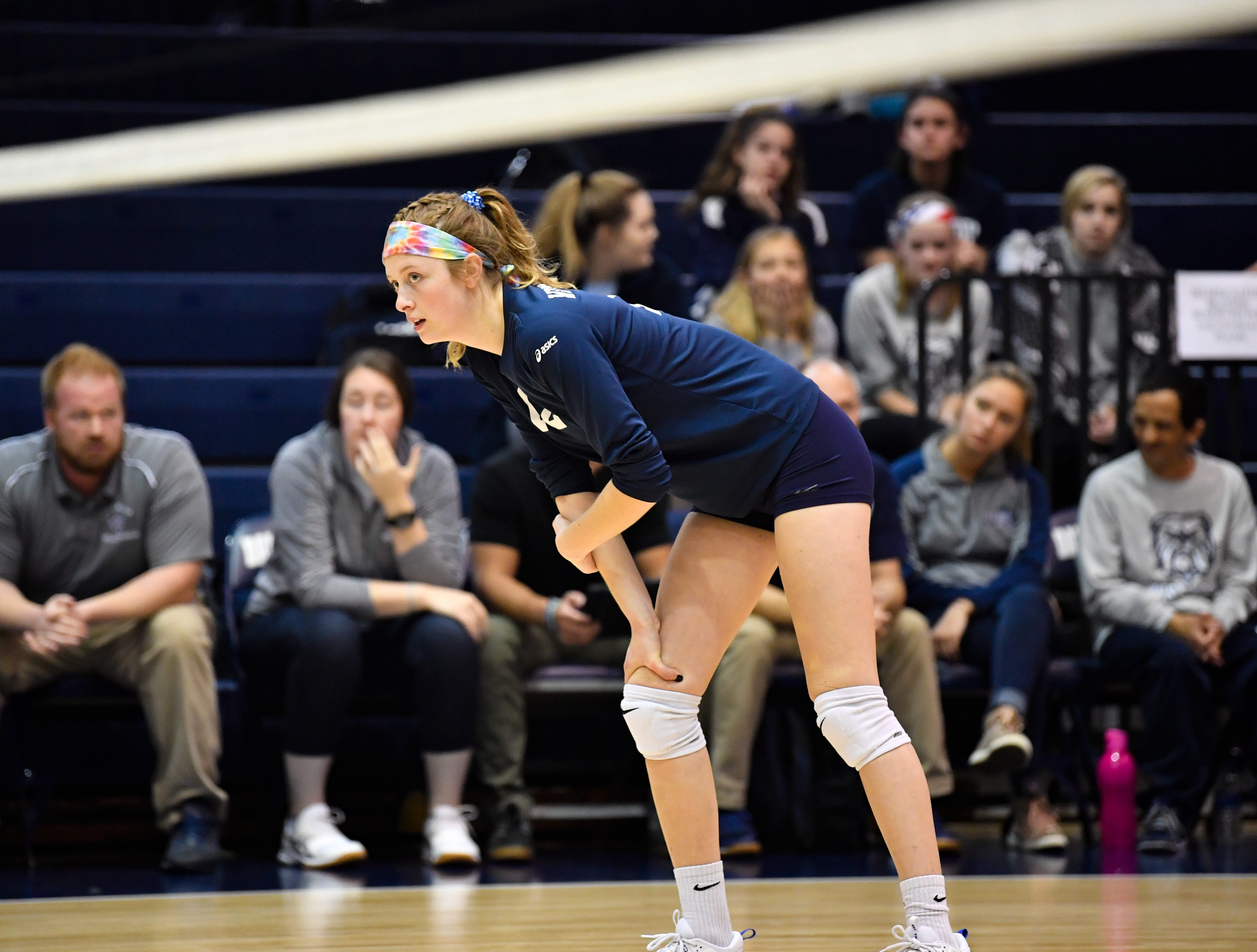 Kristen Bowser (12) sizes up the competition during the YAIAA league volleyball tournament semifinals between West York and Dover, Tuesday, October 23, 2018. The Bulldogs defeated the Eagles 3-1.