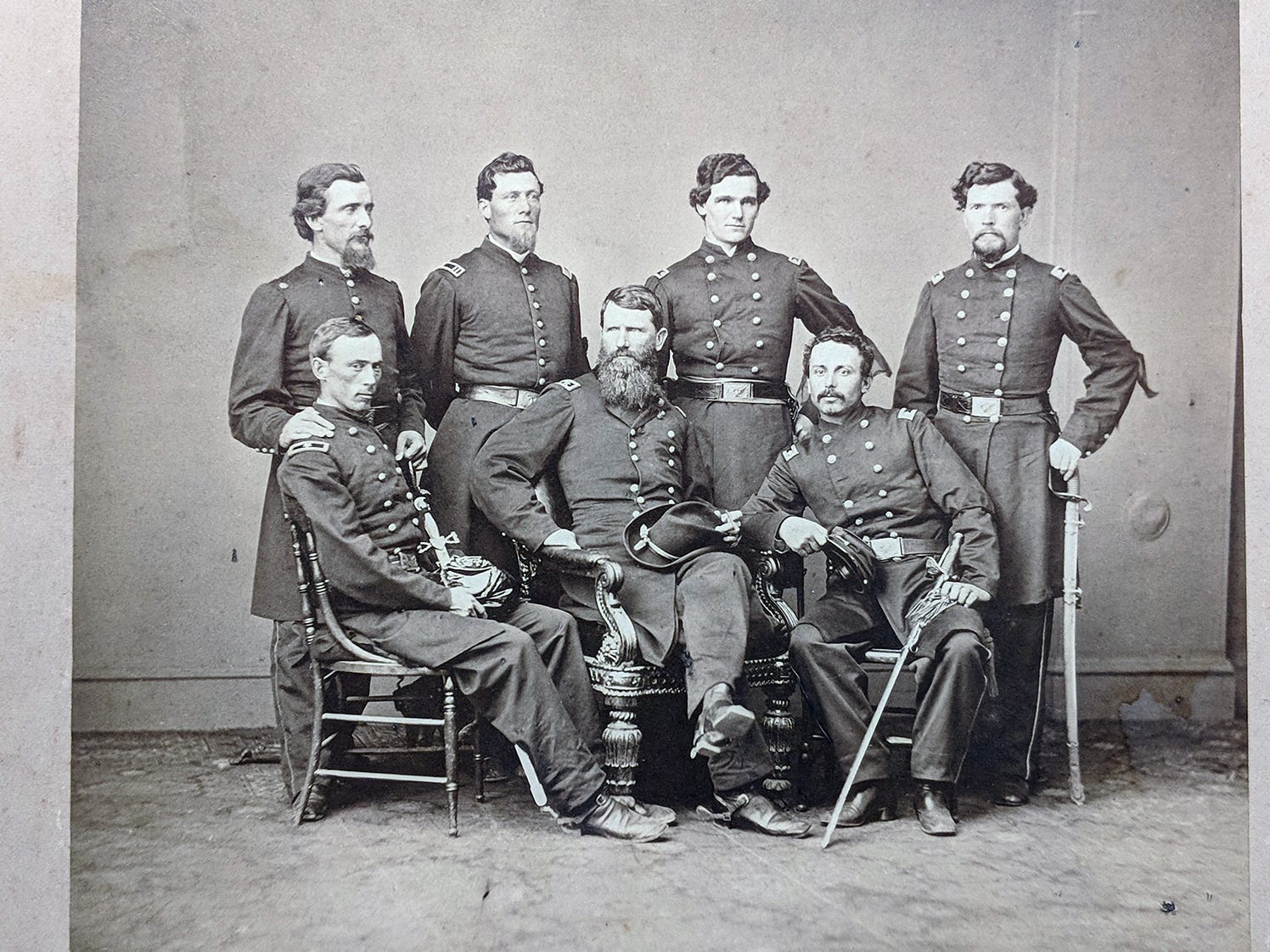 Gen. Francis P. Blair J., center, poses with officers of 17 Corp in 1864. The original photo is to be auctioned during the Blair Family, Fine Arts & Antiques Auction at Keystone Auctions LLC Saturday, October 27, 2018 at 9 a.m.