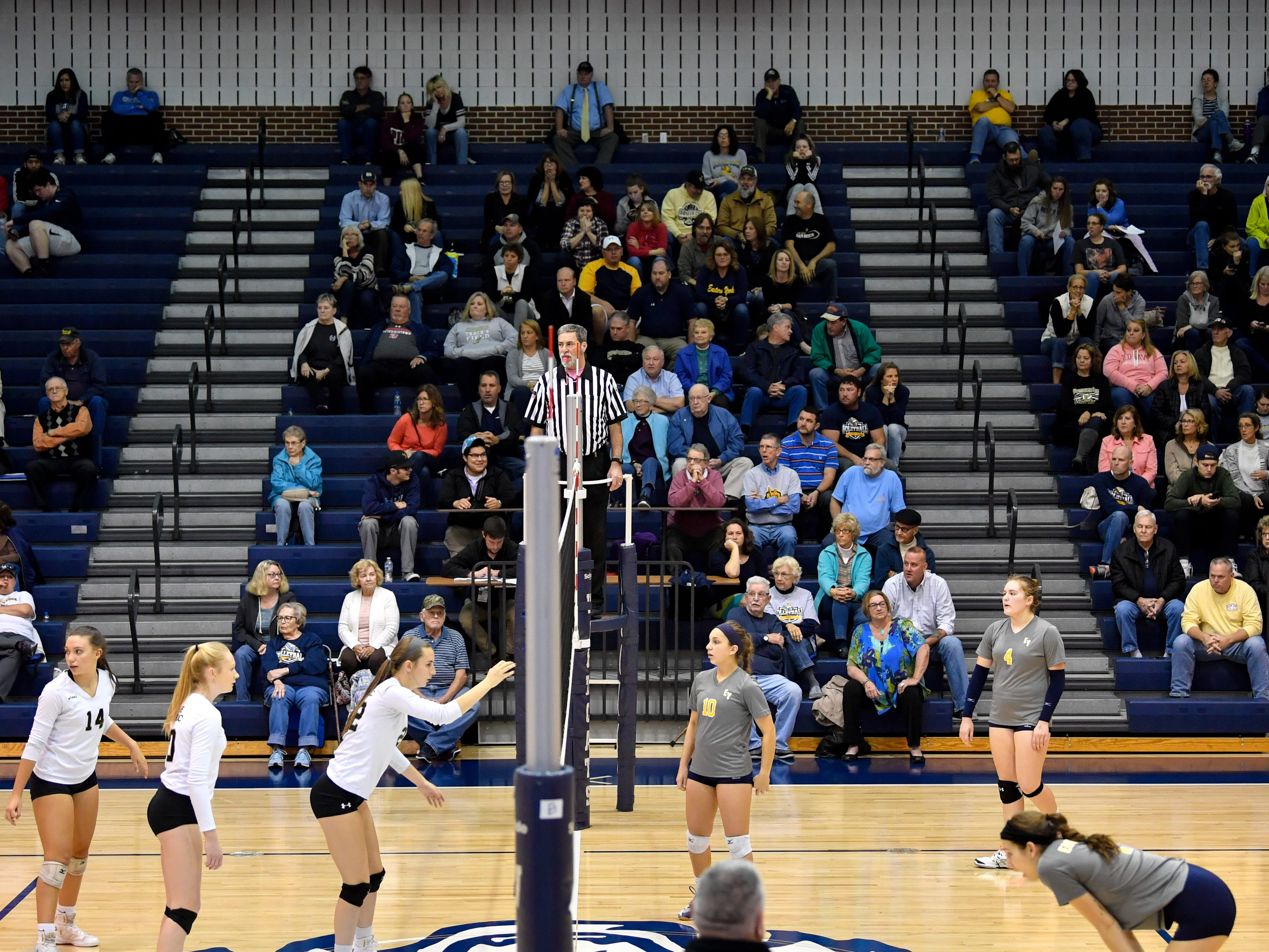 There is large crowd at the YAIAA league volleyball tournament semifinals between Eastern York and Delone Catholic, Tuesday, October 23, 2018. The Squirettes defeated the Golden Knights 3-2.