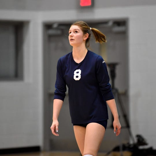 Julia Rill (8) looks to the net ref for the call during the YAIAA league volleyball tournament semifinals between West York and Dover, Tuesday, October 23, 2018. The Bulldogs defeated the Eagles 3-1.