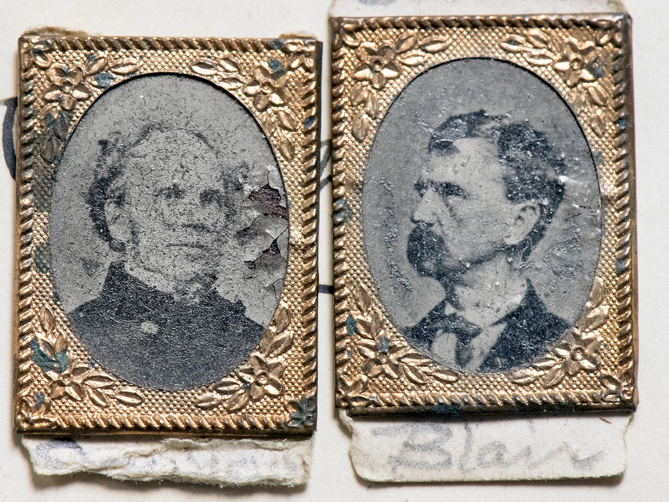 This pair of gem-sized tintypes of Horatio Seymour, left, and Francis Preston Blair Jr.  was used as political pins in the 1868 presidential election. They are to be auctioned during the Blair Family, Fine Arts & Antiques Auction at Keystone Auctions LLC Saturday, October 27, 2018 at 9 a.m.