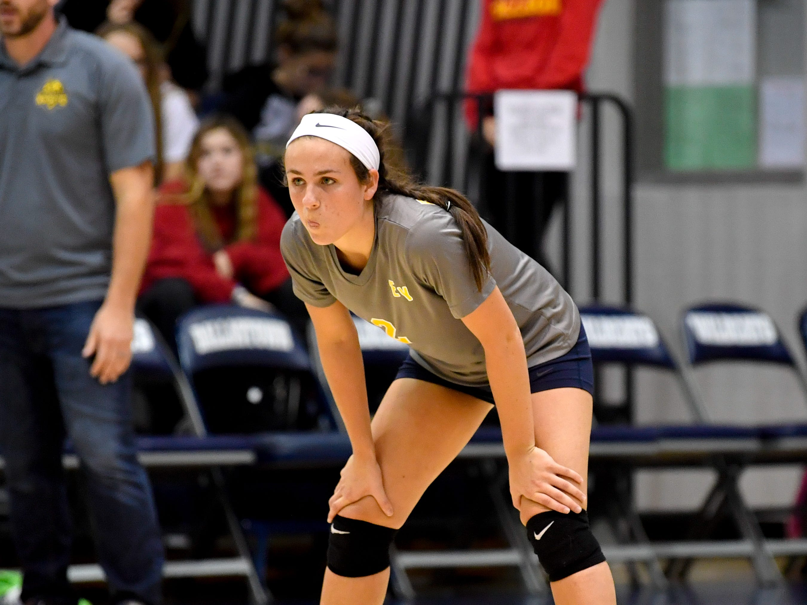 Morgan Dobbeck (2) waits for the serve during the YAIAA league volleyball tournament semifinals between Eastern York and Delone Catholic, Tuesday, October 23, 2018. The Squirettes defeated the Golden Knights 3-2.