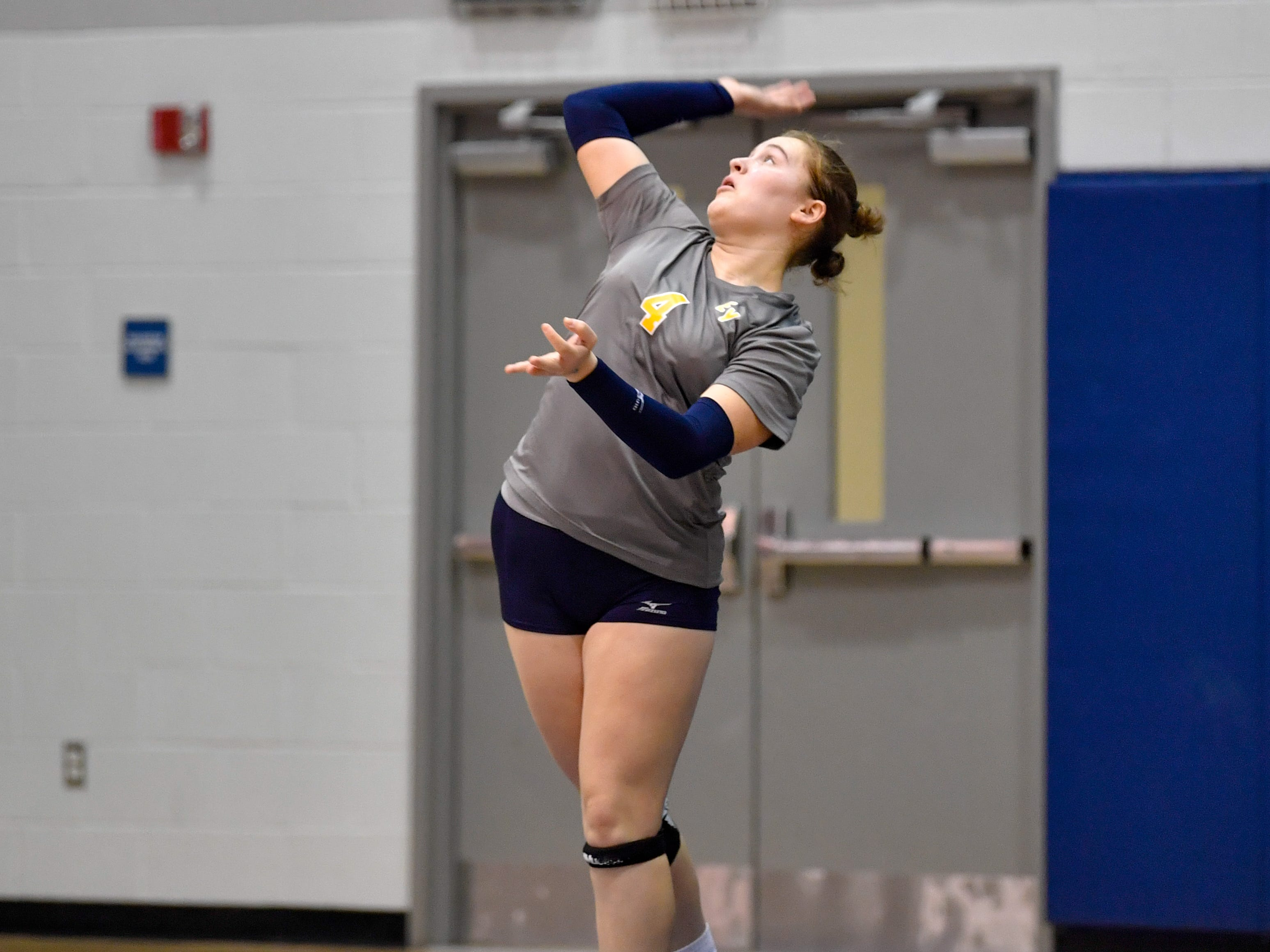 Sarah Moore (4) of Eastern York puts power behind the serve during the YAIAA league volleyball tournament semifinals between Eastern York and Delone Catholic, Tuesday, October 23, 2018. The Squirettes defeated the Golden Knights 3-2.