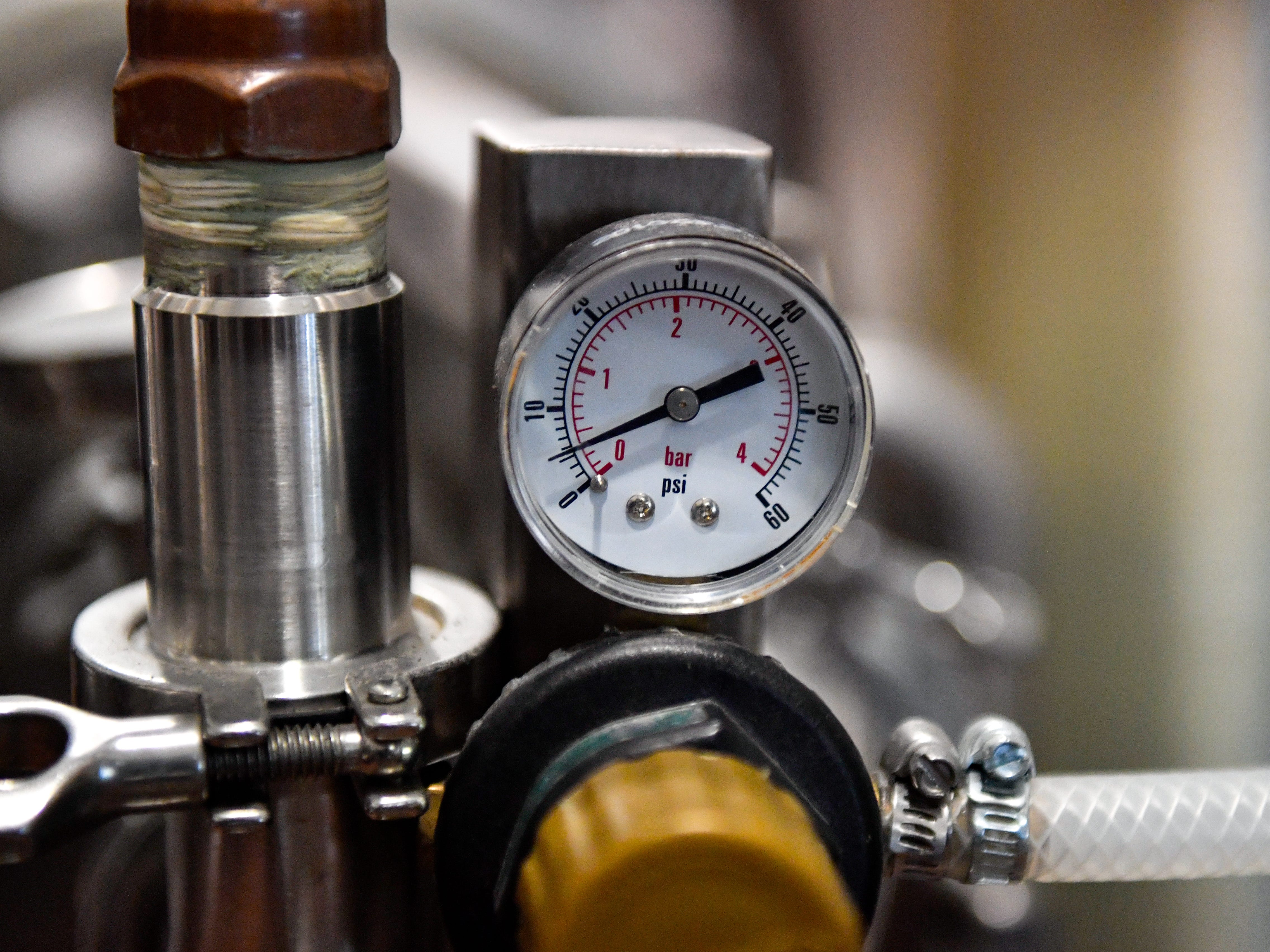 The brewery in the back of Mexitaly is filled with various gauges that measure everything from pressure to temperature, October 19, 2018.