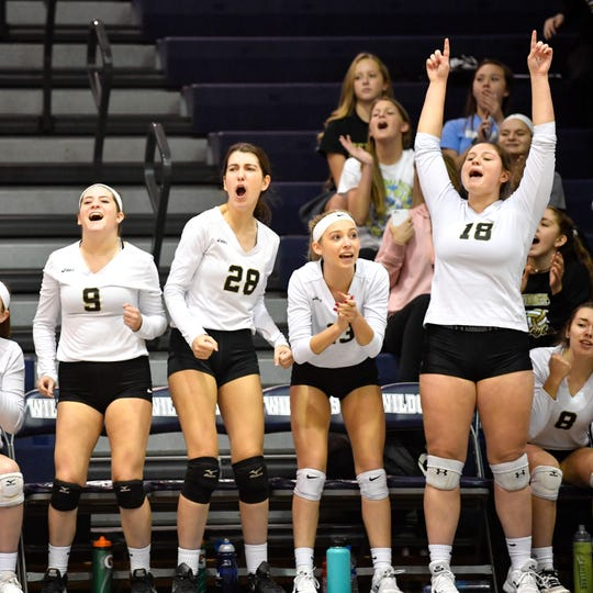 Delone Catholic celebrates their 3-2 win over Eastern York, Tuesday, October 23, 2018.