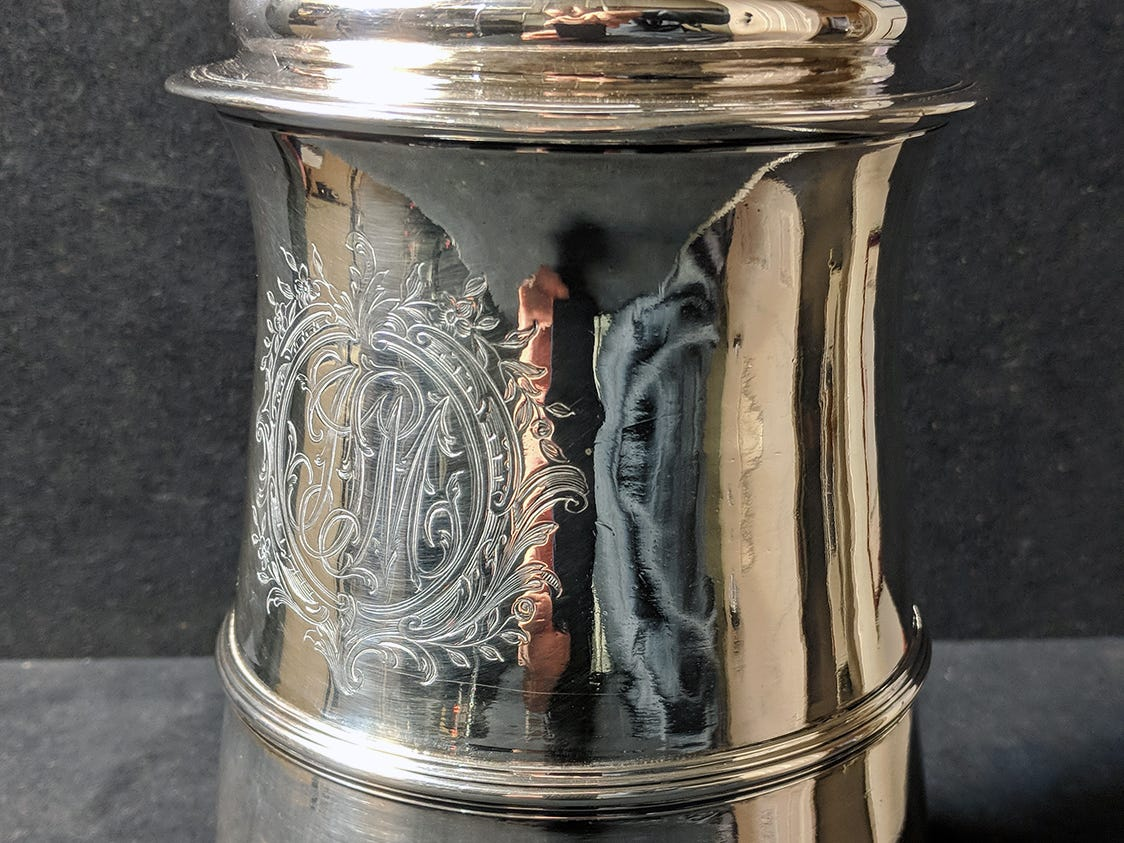 A George III Sterling Silver Lidded Tankard from 1770 made by Francis Crump is to be auctioned during the Blair Family, Fine Arts & Antiques Auction at Keystone Auctions LLC Saturday, October 27, 2018 at 9 a.m.