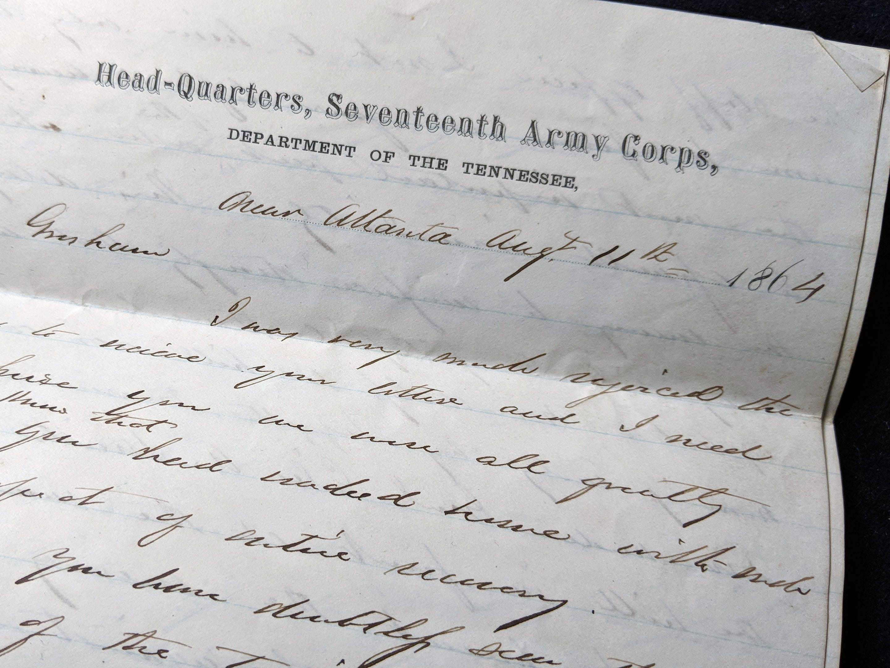This Civil War 12-page ink letter from Gen. Francis Preston Blair Jr.was written in 1864 to Gen. Walter Quintin Gresham on headquarters 17th Army Corps letterhead. The letter describes details of battle, losses, tactics and troop movements.
