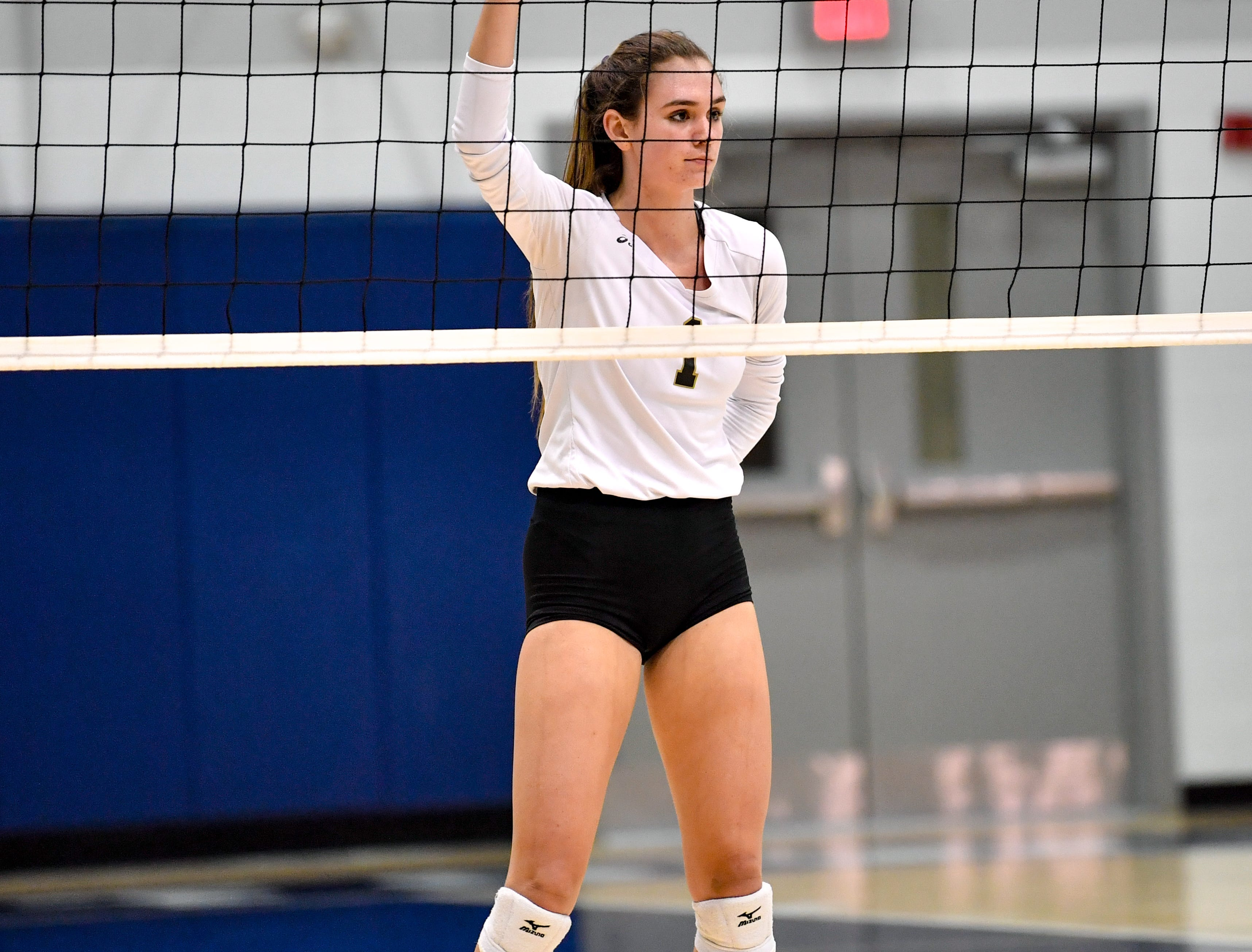 Maddie Clabaugh (1) reads the opposition during the YAIAA league volleyball tournament semifinals between Eastern York and Delone Catholic, Tuesday, October 23, 2018. The Squirettes defeated the Golden Knights 3-2.