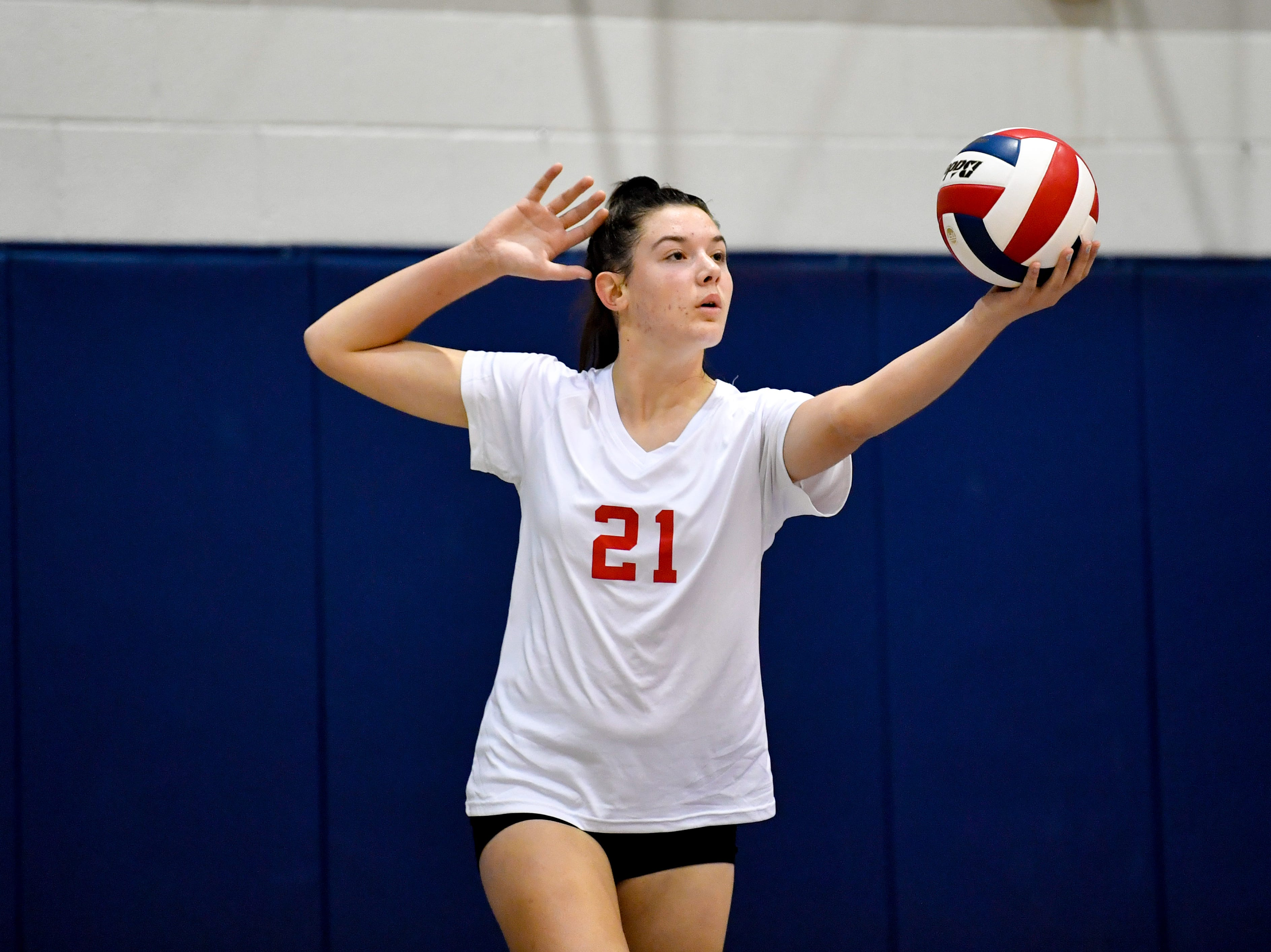 Dover's Emma Davis (21) aims her serve during the YAIAA league volleyball tournament semifinals between West York and Dover, Tuesday, October 23, 2018. The Bulldogs defeated the Eagles 3-1.