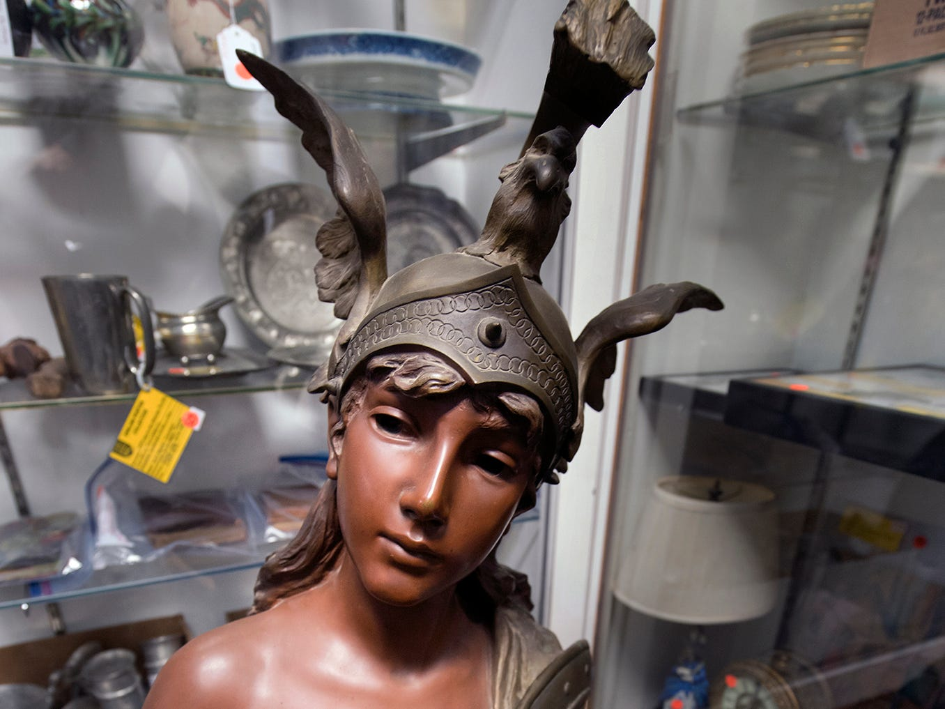 "A bronze Valkyrie by E. Vallanis from the first half of the 20th century has ""Societe de Bronzes de Paris"" on the back of the right shoulder."