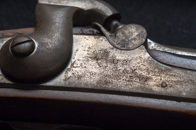 "A Lamson Goodnow & Yale 1864 Rifle stamped ""U.S."" Item  is marked ""VP"" with an eagle's head across the firing mechanism. The Blair Family, Fine Arts & Antiques collection will be auctioned off at Keystone Auctions LLC at 218 East Market Street in York Saturday, October 27, 2018 at 9 a.m and online at auctionsbykeystone.com. There is a preview of items Friday October 26 from 1-5 p.m."