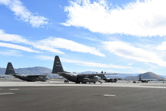 C-130 transport aircraft on the flight line of the Nevada Air National Guard base at Reno-Tahoe International Airport on Oct. 24, 2018. Some of the aircraft will be deployed to southwest Asia in the coming months.