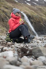 """Amie Engerbretson, who grew up in Squaw Valley and Truckee, takes a break during filming """"Face of Winter"""" in Iceland."""