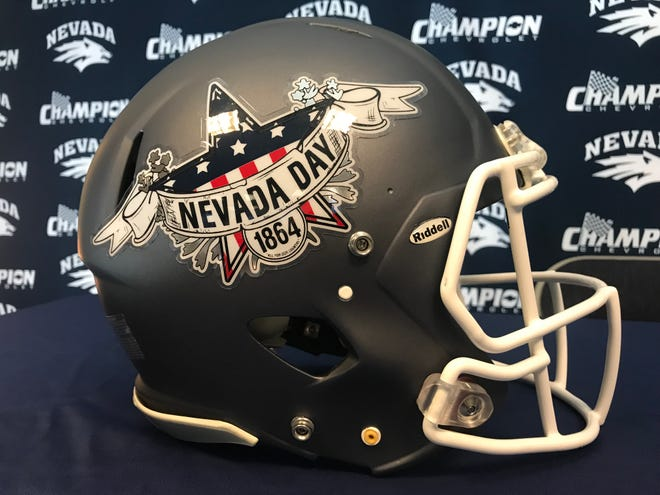 A close-up of the helmet design Nevada plans to use Saturday night.