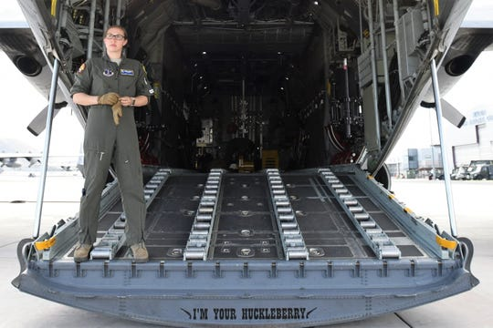 A member of the Nevada Air National Guard after lowering the rear gate of a C-130 transport aircraft on Oct. 24, 2018.