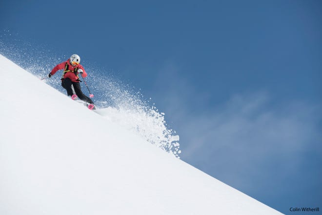 """Amie Engerbretson, who grew up in Squaw Valley and Truckee, skis an Iceland slope in """"Face of Winter,"""" the 2018 Warren Miller ski film."""