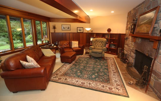 A living room area in this Usonian house in Perinton.