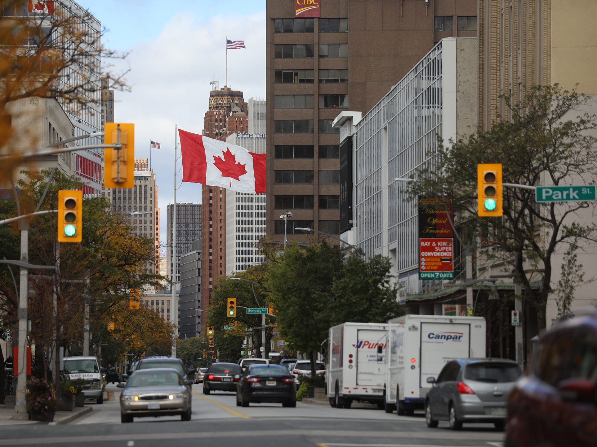 Ouelette Avenue in downtown Windsor, Ontario, Canada.