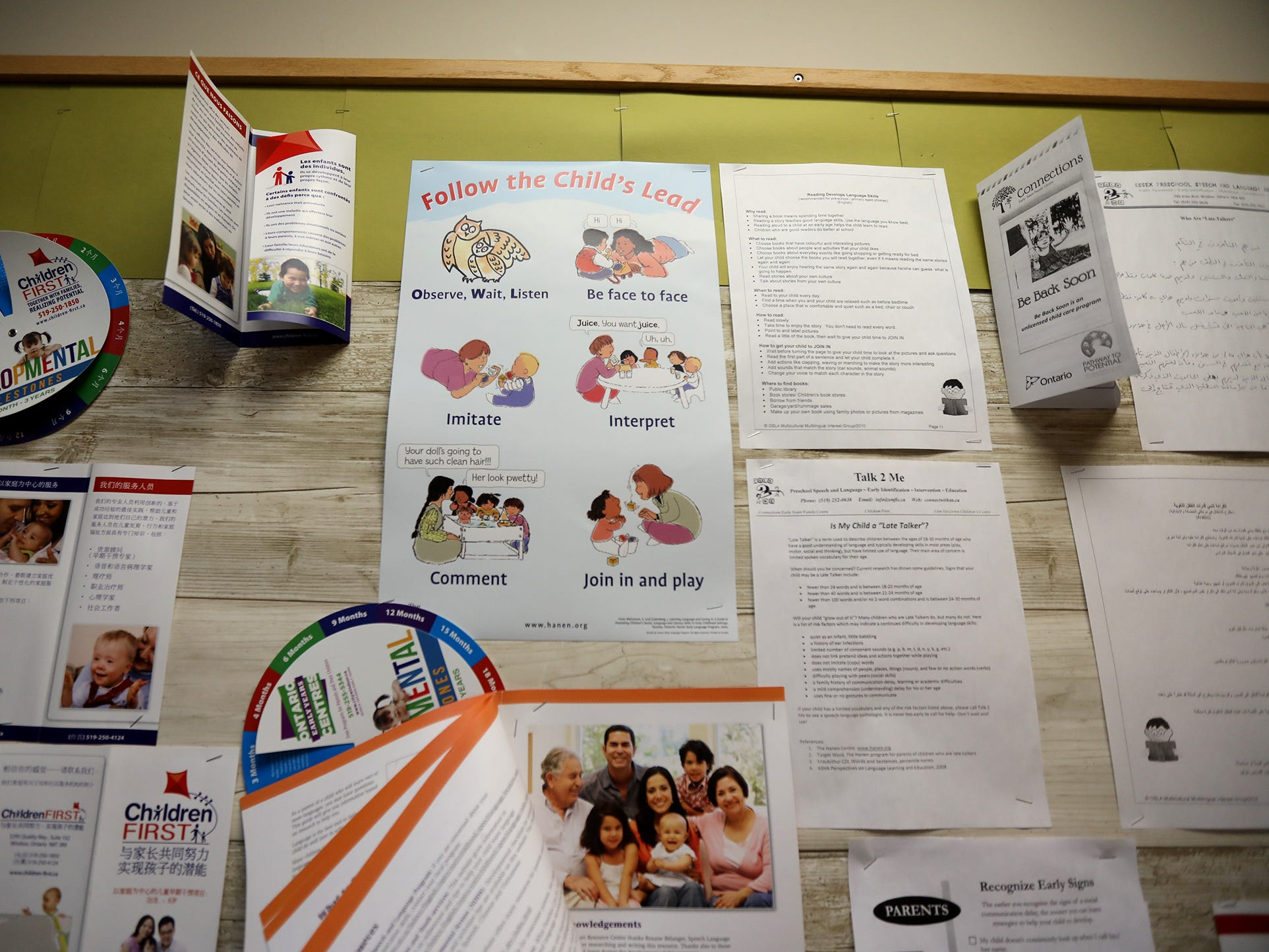 Glengarry EarlyON Child and Family Centre, in Windsor, Ontario, Canada has a wall informing parents about child development.
