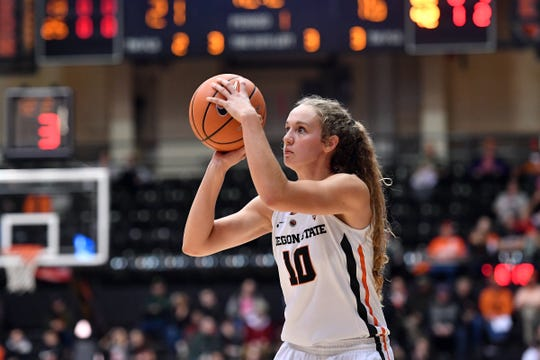 Oregon State's Katie McWilliams scored 14 points Friday night in the Civil War. McWilliams is a South Salem graduate.