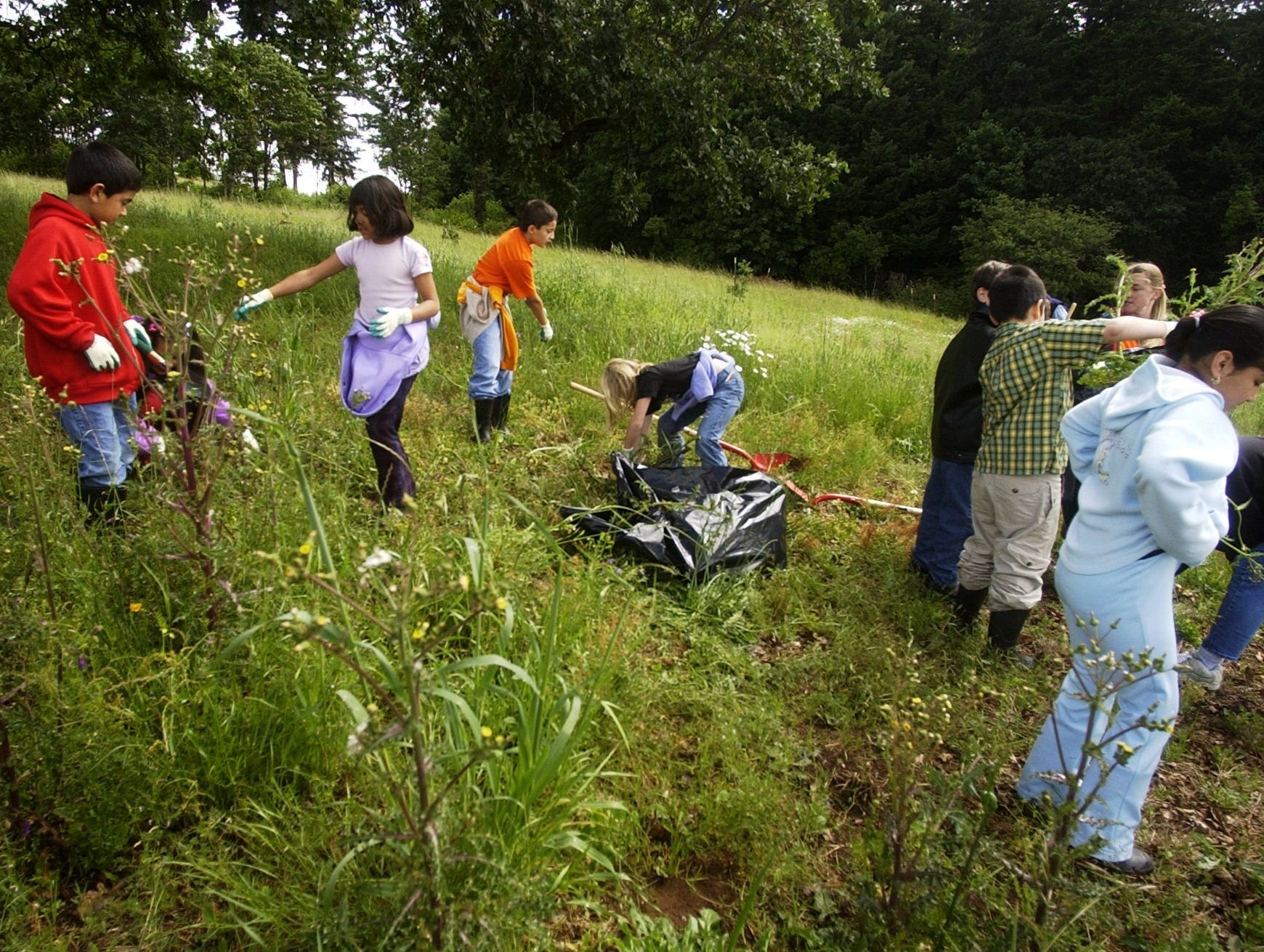 Students from Hallman Elementary came to Bonesteele Park to pull weeds in 2004.