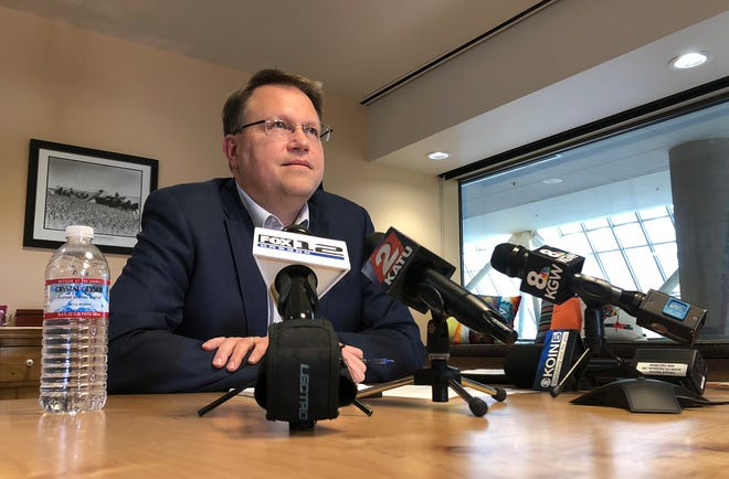 Oregon Department of Education Director Colt Gill speaks with reporters on Oct. 24, 2018.