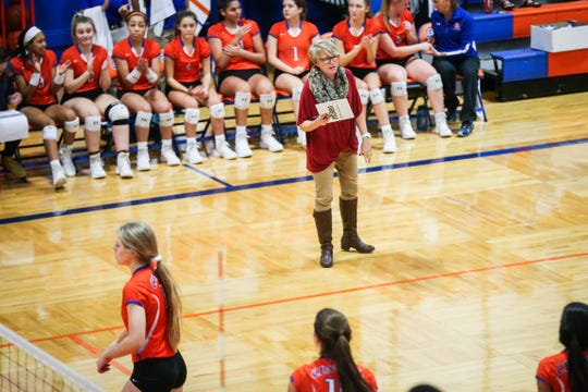 Central' coach Connie Bozarth watches her players during the game against Weatherford Tuesday, Oct. 23, 2018, at Babe Didrikson Gym.