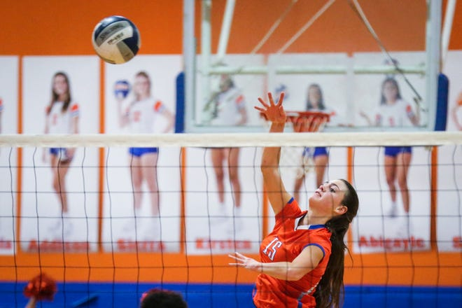 Trinity Southall was one of eight seniors who played their final match for the San Angelo Central High School volleyball team in Tuesday's bidistrict loss against Fort Worth Trimble Tech..