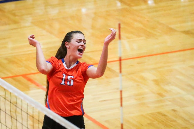 Central's Trinity Southall celebrates a set against Weatherford Tuesday, Oct. 23, 2018, at Babe Didrikson Gym.