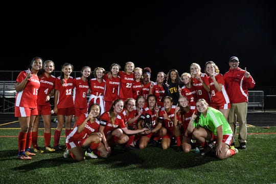 The James M. Bennett High School girls soccer team celebrates after winning the Bayside Championship game against Kent Island at Snow Hill on Tuesday, Oct 23, 2018.