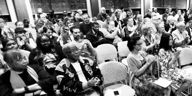 People attending the forum for Shreveport mayoral candidates on Tuesday, Oct. 23, at Centenary College.