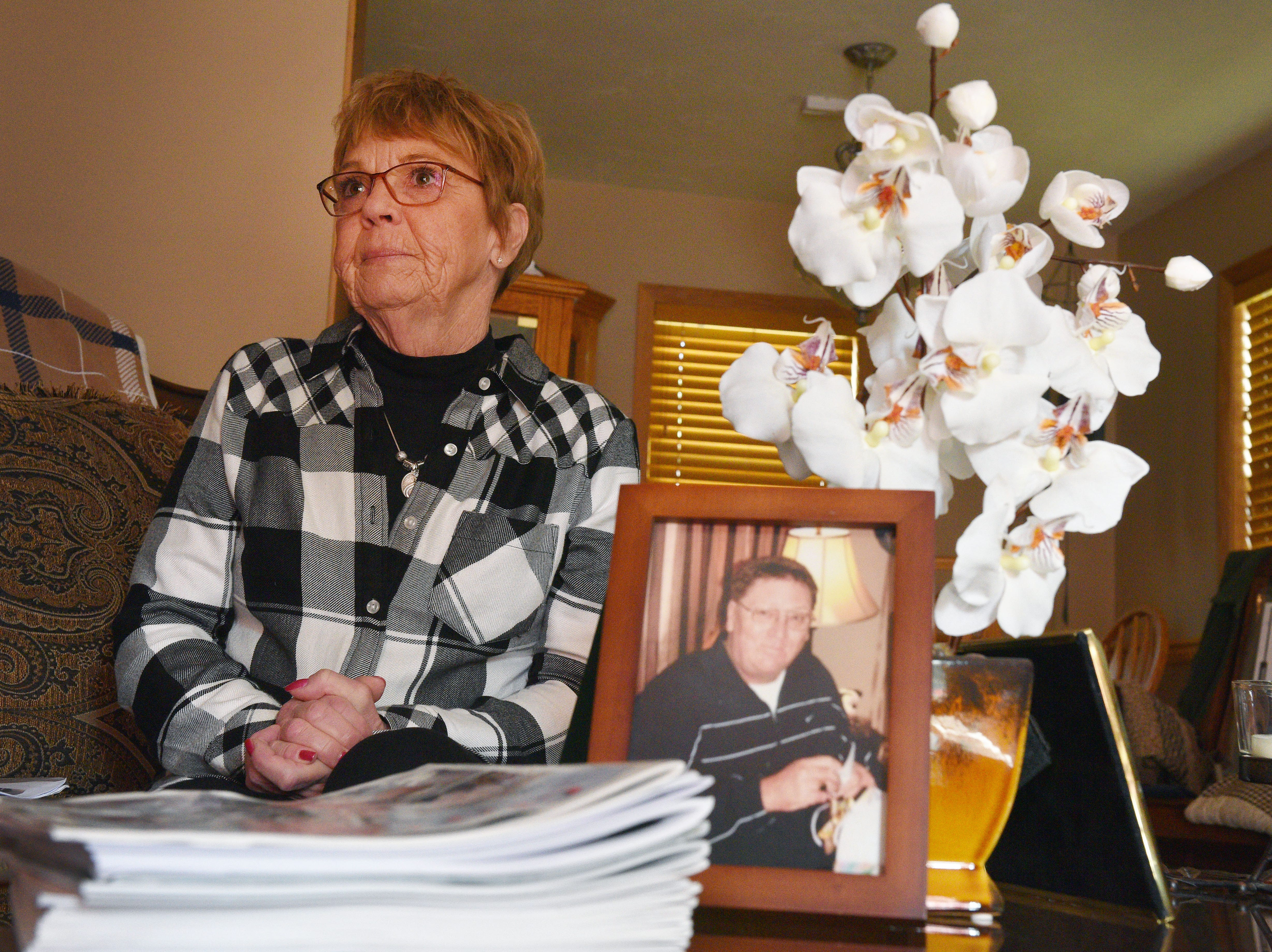 Lynette Johnson talks about her late husband RJ Johnson Wednesday, Oct. 24, at her home in Sioux Falls. RJ was killed while on duty as a correctional officer in 2011 by two inmates trying to escape. One of those inmates, Rodney Berget, is being executed. The other inmate, Eric Robert, was executed in 2012.