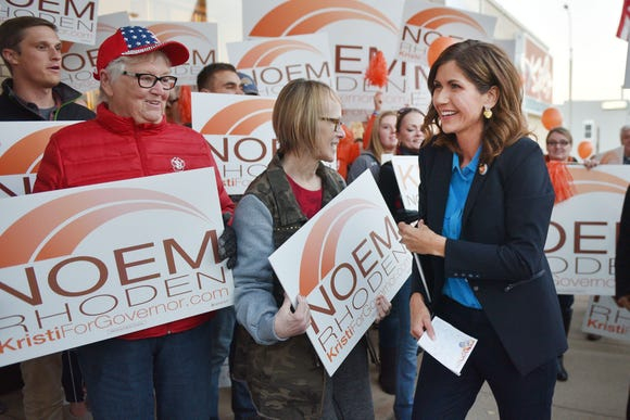 Kristi Noem makes her way through supporters outside of KELO TV before the gubernatorial debate with Billie Sutton Tuesday, Oct. 23, at KELO TV in Sioux Falls.