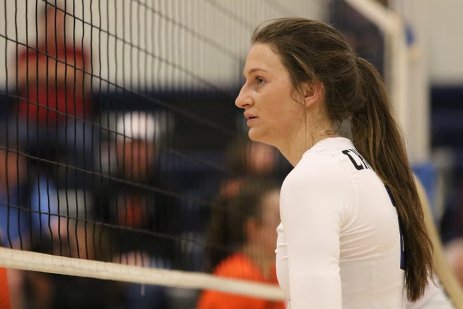 Kylee Van Egdom of Sioux Falls Christian awaits another serve during a match against Lennox on October 22nd in Sioux Falls.