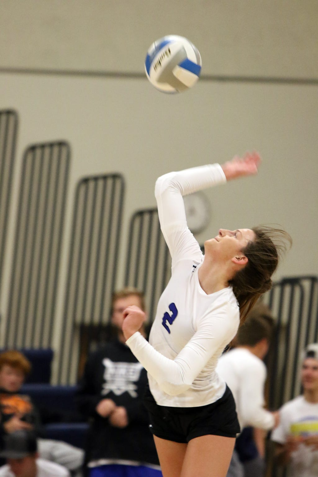 Kylee Van Egdom of Sioux Falls Christian serves during the match with Lennox on Monday night in the Sioux Falls Christian gym.