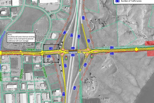 Of the seven redesign options for the Benson Road and Interstate 229 interchange, two feature diverging diamonds that would have three lanes of left turns to allow more northbound vehicles off of the freeway efficiently.