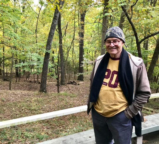 Dwight Colbaugh, 74, grew up in a house with a backyard that slopes down to the James River. His mother still owns the house. Yes, he says, there is not as much color in the fall as there once was.