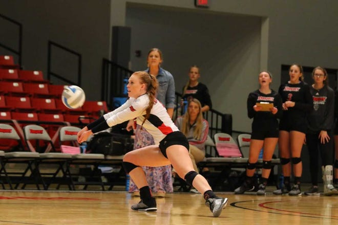 Bree Schmidt returns a ball for the Drury volleyball team.