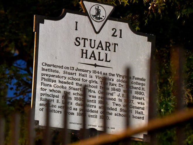 A Virginia historical marker offers information about the history of Stuart Hall School on West Frederick Street in Staunton on Tuesday, Oct. 23, 2018.