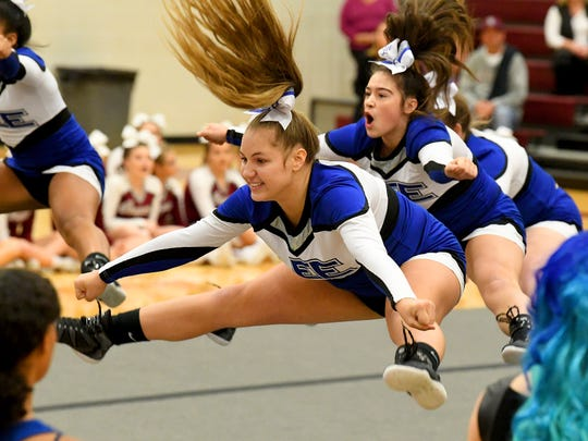 Robert E. Lee competition cheer team competes in the Region 2B Cheer Championships held in Stuarts Draft on Wednesday, Oct. 24. 2018.