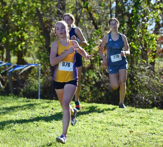 Waynesboro's January Shepherd heads for the finish line of the girls varsity race at the Valley District Cross Country Championships on Tuesday, Oct. 23, 2018, at Mill Place Park in Verona, Va.